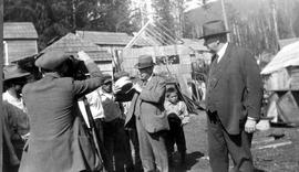 Friendly Cove; ceremony for the unveiling of the Cook-Vancouver monument; C.C. Pemberton collection