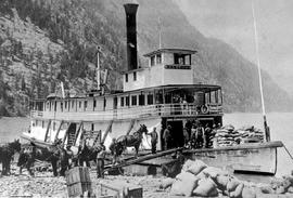 "Sternwheeler ""Lytton"" during construction of the road from Robson to Greenwood."