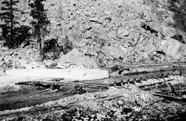 """Commencing easterly or second section of the dam across the Okanagan River at MacIntryre&#0..."