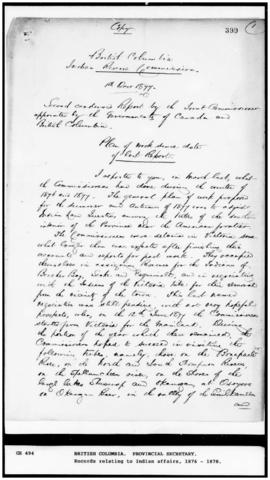 (Copy) Second condensed Report by the Joint Commissioner, 1 Dec 1877, signed G.M. Sproat