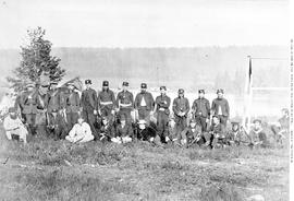 """Rifle  match at New Westminster, 1865""; Governor Seymour on horseback; Richard Wolfend..."