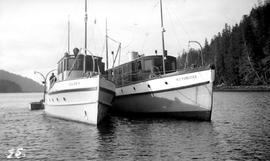 Forest Service; launch, Lillian D. and BC Forester; Moresby Island.