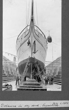 Dolaura in dry dock, Esquimalt, James Dunsmuir's yacht