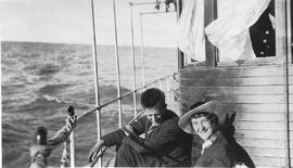 An unidentified couple on a boat.