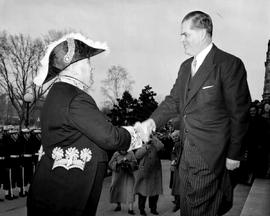 Premier William Andrew Cecil Bennett greeting Lieutenant Governor Frank Ross, Victoria.
