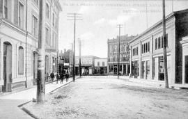 """A portion of Commercial Street, Nanaimo, British Columbia""; tinted postcard."