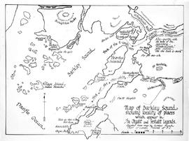 """Map of Barkley Sound showing locality of places which appear in the Chyaht and Seshaht Lege..."