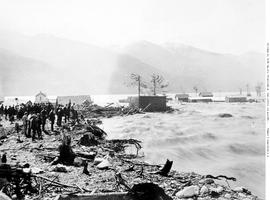 Kaslo during the flood; all buildings later swept away by the force of the water.