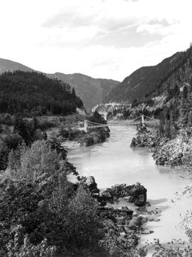 Alexandra Suspension Bridge, Fraser Canyon; built 1926, Yale.