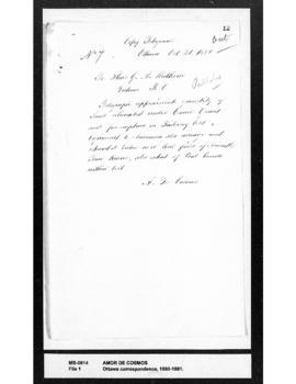 Amor De Cosmos to George Anthony Walkem : requesting quantity of land alienated in Railway Belt