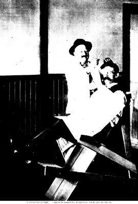 First barber chair in Spences Bridge; J. Williams of Merritt having his hair cut, Mr. Kolkeubeck,...