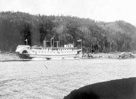SS Kaslo being launched on Kootenay Lake.