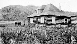 """A new settler's home near Telkwa in the Bulkley Valley""."