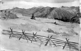 [Landscape With Split Rail Fence - Goes With Adjacent Page Pdp 7376]