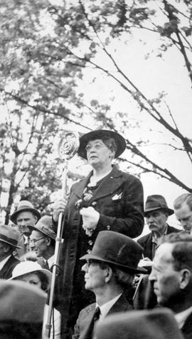 """Bloody Sunday""; Helena Gutteridge, the first female elected to Vancouver city council, addressing post office riot demonstrators in Vancouver."
