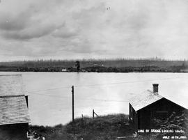 """Line of bridge looking south""; construction of the Fraser River Bridge in New Westmins..."