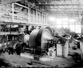 """Year 1923; Kimberley BC, primary ball mill bay, Sullivan concentrator."""