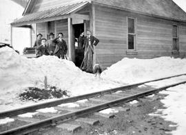 The Kaslo And Slocan Railway At Payne Mine Office; John Daly Payne Mine Bookkeeper; The Group App...