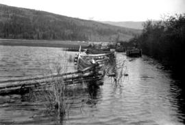 Wagon on a flooded road near Stuie.