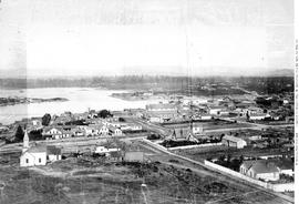 Victoria from Church Hill; Laurel Point at left; Hudson's Bay Warehouse to the right; St. Andrew's Presbyterian at centre on Courtney Street; see A-3419, A-3422, A-3423, A-03424, A-3
