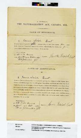 County of Cariboo, Naturalizations : East, James Isaiah