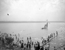 A swimming race in English Bay.