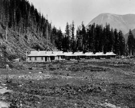 Boarding houses of the Lillooet, Fraser River and Cariboo Gold Fields Ltd. at Laurie mining camp.