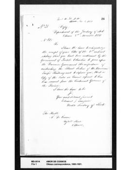 Edouard J. Langevin to Amor De Cosmos : acknowledging receipt of De Cosmos' commission