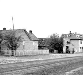 Fort Steele shortly before restoration; Main Street looking south, showing the post office and the Windsor Hotel.