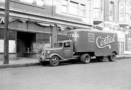 Central Cartage moving truck parked on lower Yates Street near the former Francis Hotel; Victoria