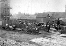 Stelly's stables and yards at the corner of Blanshard and Johnson Streets; the home of Josep...
