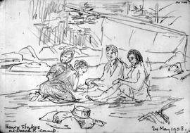 Heavy Stakes At Leech R[River] Camp [Showing Four Seated Figures]