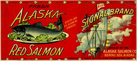 """Alaska Fresh Red Salmon; Signal Brand; Packed by the Alaska Salmon Co., Bering Sea, Alaska"""
