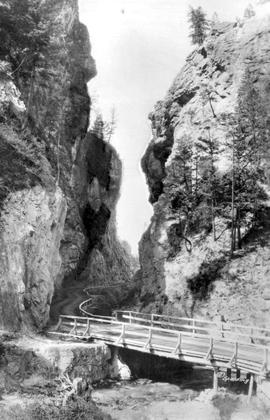 """The Gap, Sinclair Canyon, looking south; Banff-Windermere highway, Kootenay National Park, BC"""