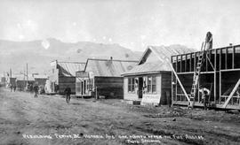 """Rebuilding Fernie BC, Victoria Avenue one month after the fire of August 1, 1908"""