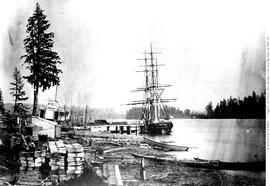 """First ocean-going ship to enter the Fraser River""; New Westminster."