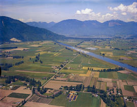 Aerial Of The Fraser Valley Farmland-Vedder Canal
