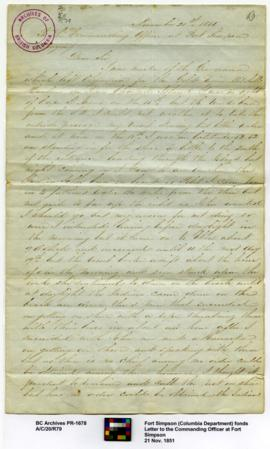 Letter to the Commanding Officer at Fort Simpson
