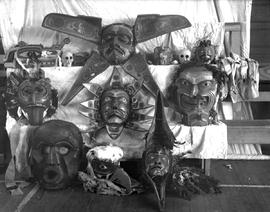 A collection of dance masks.  Photo taken at Alert Bay, BC, Anglican Church parish hall