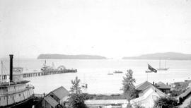 Port Simspon showing the Hudson's Bay Company's sternwheelers and the government agent.