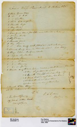 List of goods forwarded to Fort Babine