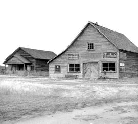 Fort Steele shortly before restoration; the Howard residence and the Fort Steele Garage.