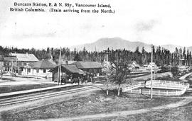 """Duncans Station, E & N Railway, Vancouver Island, British Columbia, train coming from t..."