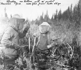 "Swannell survey; ""Muskeg, no bottom with 9' picket traverse tp.13. 200 yards from lake edge""."