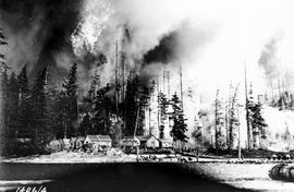 An unidentified settlement being surrounded by an enormous forest fire.
