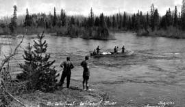 Survey crew at a whirlpool on the Whitesail River.