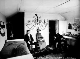 """BC Government Police Office, Atlin, BC, 1899, Smythe Photo""; interior of the British C..."