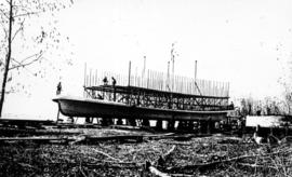 Building a stern wheel steamboat on the Fraser River.