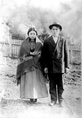 Young First Nations couple; Rachel and Edward Whonnock, Alert Bay, BC.