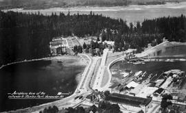 """Aeroplane view of the entrance to Stanley Park, Vancouver, BC."""